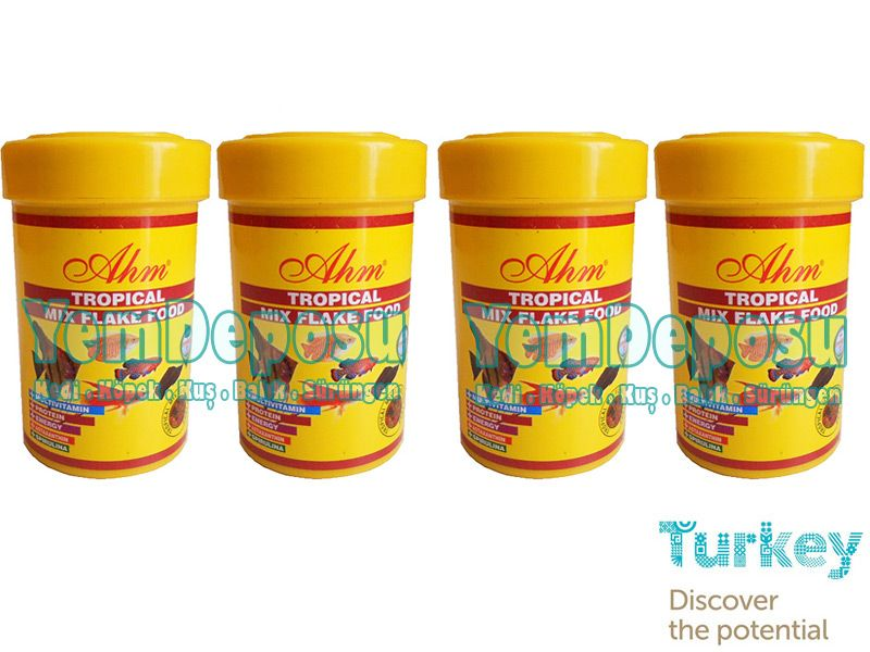 AHM TROPİCAL MİX FLAKE 4 X 100 ML KUTU fotograf