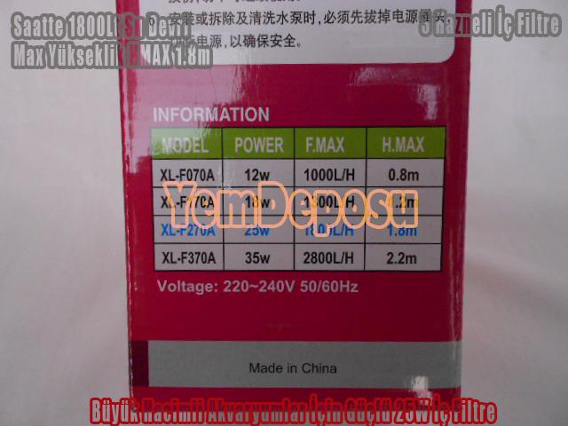 XİLONG XL-F270A 1800L/H AKVARYUM İÇ FİLTRESİ (3 HAZNELİ)
