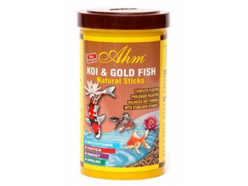 AHM KOI & GOLD FISH NATURAL STICKS 1000 ML KUTU fotograf
