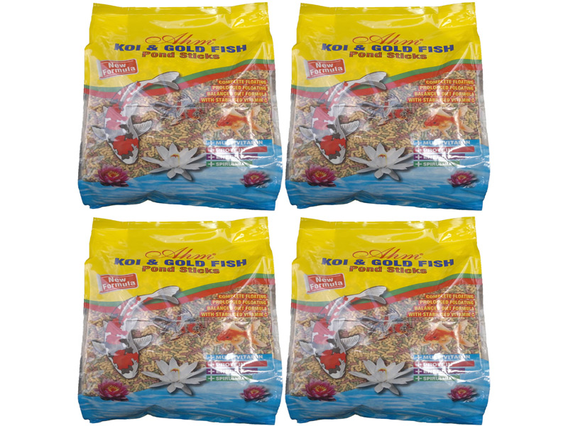 AHM KOİ GOLD FİSH POND STİCKS 4 X 1 KG POŞET fotograf
