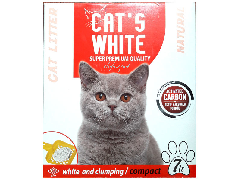 CATS WHITE KEDİ KUMU CARBON ACTIVE 7 LT